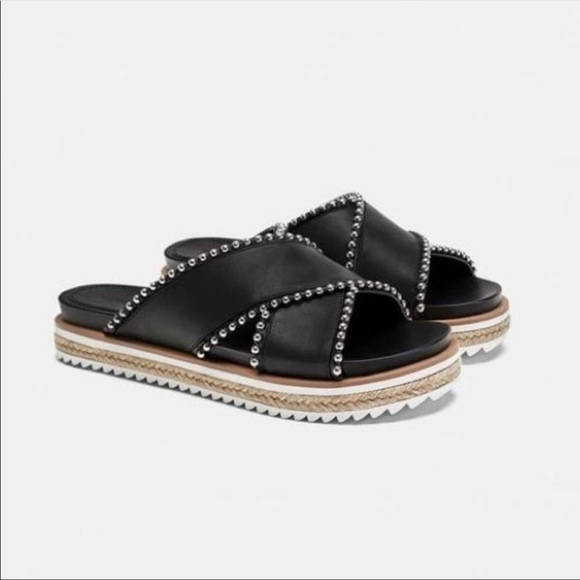 Zara Black Studded Criss Cross Espadrille Slides